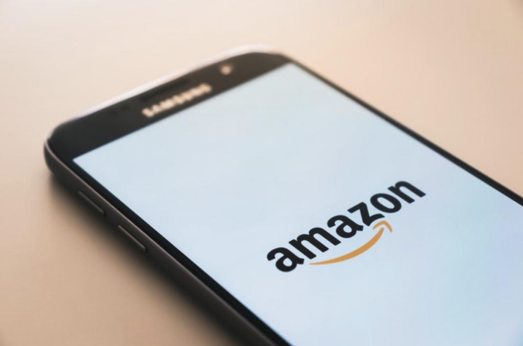 Black Samsung smartphone with Amazon logo on display