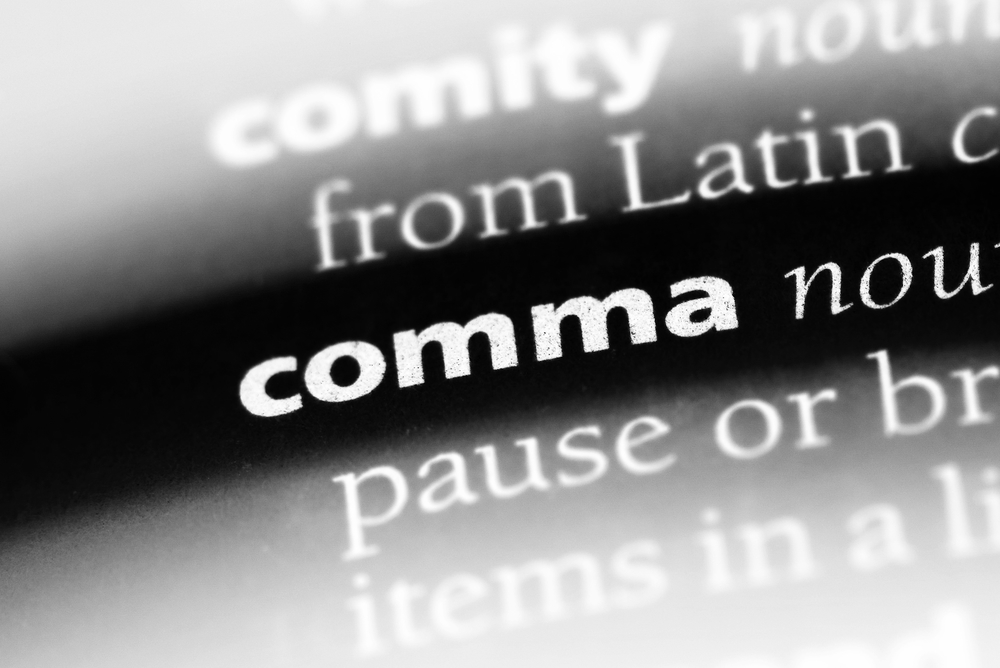 comma word in a dictionary. comma concept