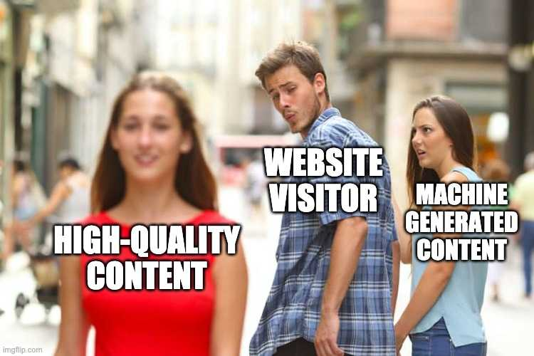high quality content vs machine generated content