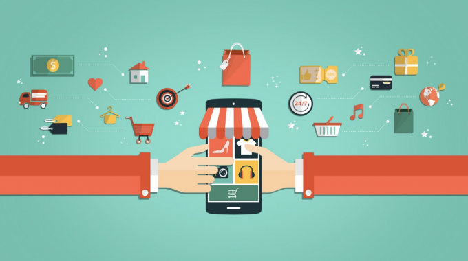 Vector image of two hands from holding a smartphone while doing online shopping with other icons present