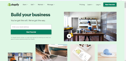Screenshot from Shopify's website