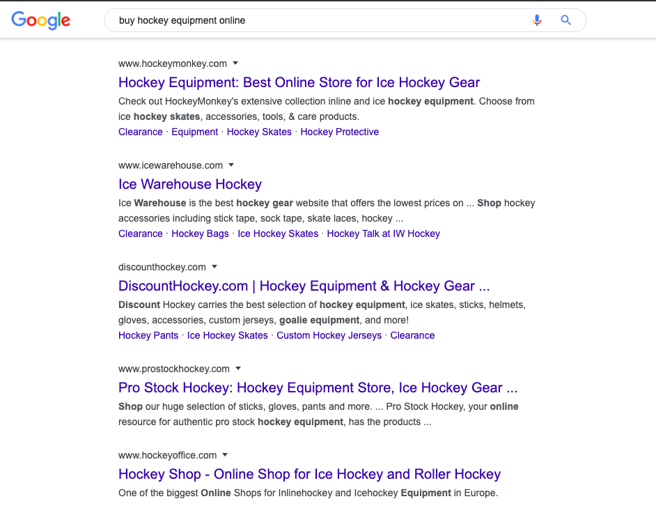 Examples of search results for hockey equipment