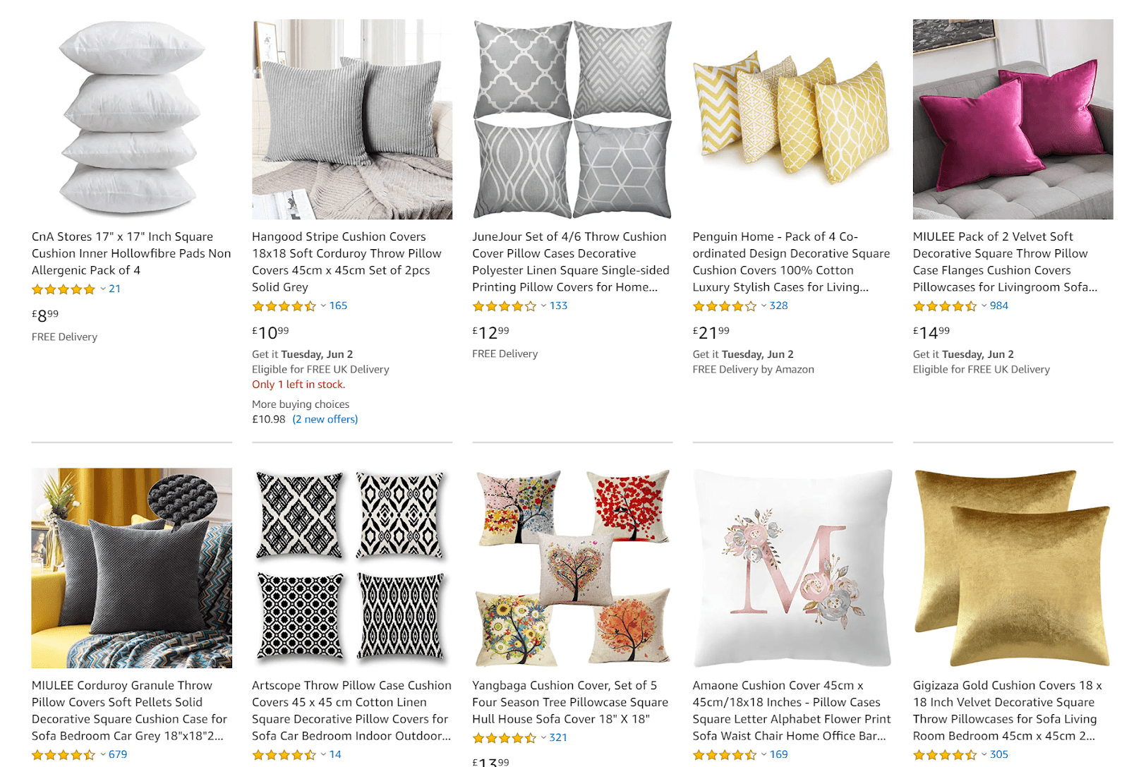 examples of amazon listings of pillows used in decorated settings